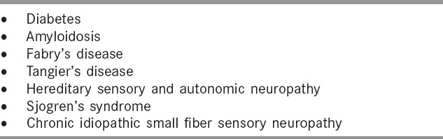 Table 4: Causes of small fiber neuropathy