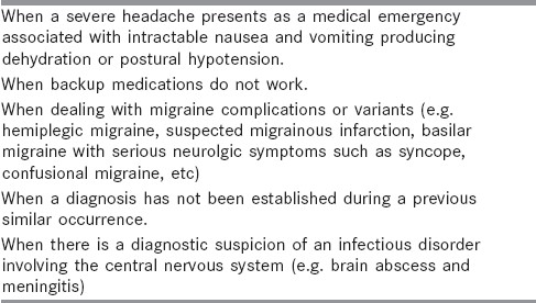 Table 2: When does one refer or hospitalize a headache patient?